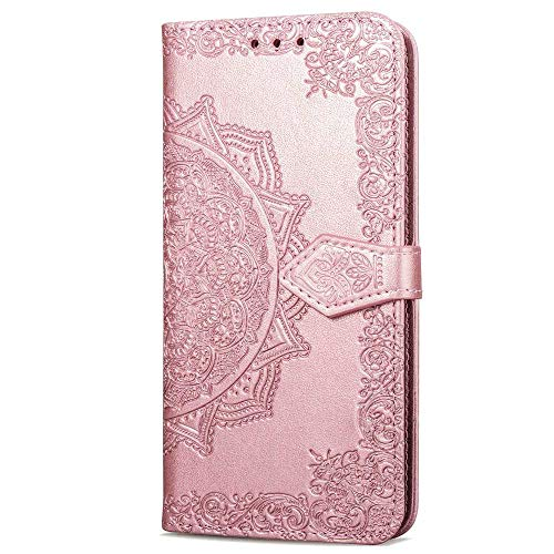 Bravoday Coque pour Samsung Galaxy Grand Prime, Protection Étui Housse PU Cuir Portefeuille Bookstyle pour Galaxy Grand Prime, avec Carte Slot et Stand Support, Or Rose