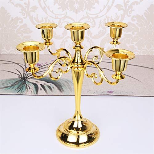 Kerzenhalter Mariage Home Decor Candelabra Stand Silber/Gold/Bronze/Black Metall Säulen Kerzenhalter Kerzenständer Hochzeitsstand Kerzenständer (Farbe : Gold 5 arms)