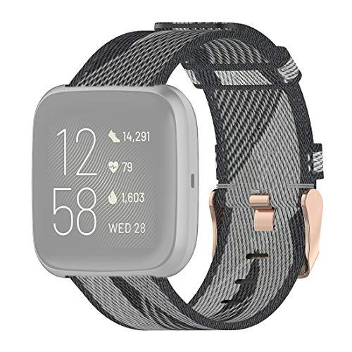 ZAM ZAM 23 mm Banda de la Raya de la Armadura de Nylon Correa for la muñeca Reloj de Fitbit Versa 2, Fitbit Versa, Fitbit Versa Lite, Fitbit Blaze (Gris) (Color : Grey)