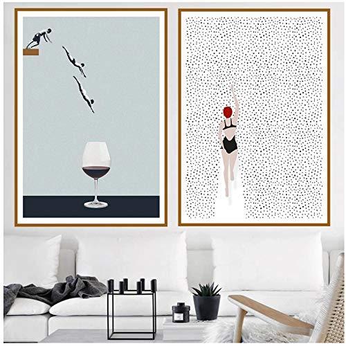 Cuadros Decoracion Salon ZXYFBH Póster Abstracto Natación Copa de Vino Imágenes Pintura en Lienzo para Sala de Estar Impresiones Decorativas Modernas en la Pared Decoración del hogar 23.6x31.5in (60x