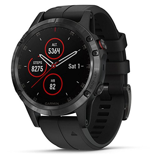 Garmin Fenix 5 Plus, Sapphire, Black W/Blk Band, Montre GPS, EMEA