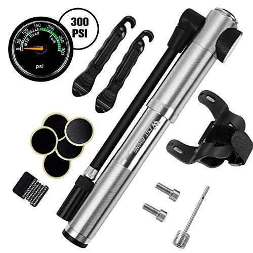 Mini Fahrradpumpe, Fahrrad Luftpumpe, Fahrradpumpe mit Manometer, Hoher Druck 300 PSI/20.6Bar, Geeignet für Presta & Schrader, Genaue Inflation, Kompakt & Leichte, Handpumpe für Rennrad/Mountainbike