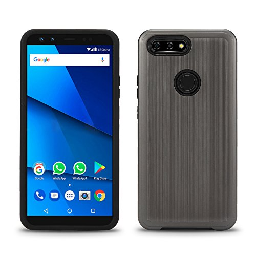 BLU Vivo X case, (V0230WW) 6 inch case, [ New Frontier Wireless], Tough Hybrid + Dual Layer Shockproof Drop Protection Metallic Brushed Case Cover for BLU Vivo X case (VGC Gray)