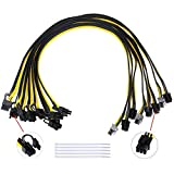S-Union [8PCS] New 16AWG 6Pin PCI-E to 8 (6+2) pin Cable 27.5 Inch(70CM) Length PCI 6Pin Male to Male Cable for GPU/PSU Breakout Board, GPU Ethereum ETH Mining Power Supply (with 5 Nylon Cable Ties)