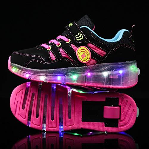 qmj Schuhe Mit Rollen LED Skate Schuhe Für Junge Mädchen Geschenk Skateboard Schuhe Blinkschuhe Kinderschuhe Mit Rollen Roller Skate,Pink-36