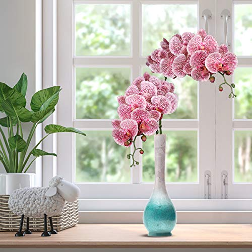3D Phalaenopsis Artificial Butterfly Orchid Flowers Fake Moth Flor Orchid for Home Wedding DIY Decoration Real Touch- Fuchsia Moth Orchid 2 Pcs