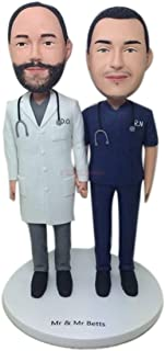 Gay Male Doctor Male Nurse Custom Wedding Topper Personalizzato Gay Wedding Cake Topper Figurine Gay maschio Regali di noz...