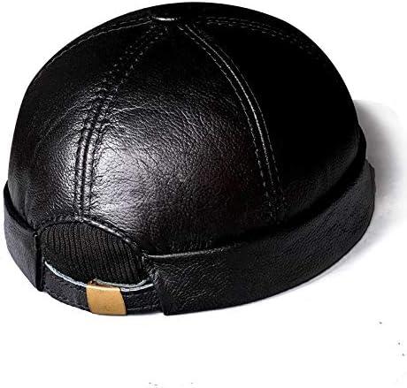 Men 期間限定特価品 Leather Hats Docker Beanie Worker ファクトリーアウトレット Sailor Ro Brimless Cap