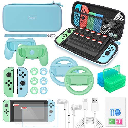 Auarte Switch Zubehör-Set – 26-in-1 Upgraded Kit mit Tragetasche & Displayschutzfolie, Joycon Grips & Rennrad, Schutzhülle, Daumengriffe, Spielhalterungen & USB-Kabel für Nintendo Switch (HellBlau)