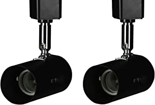 KING SHA 2 Pack Universal Line Voltage Track Lighting Heads Compatible H Type 3-Wire Single Circuit Track Systems,E26 Base,Black,ETL Listed
