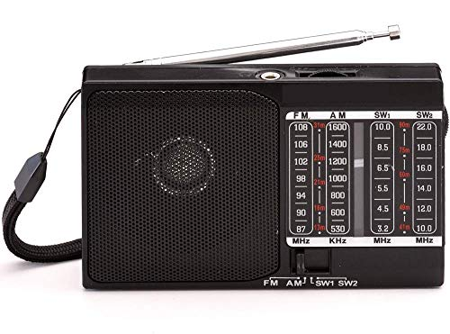 Bluevalley Portable AM FM SW Shortwave Radio with Loud Speaker and Earphone Jack. Battery Operated Compact Transistor Radios Player. Built in Rechargeable Battery. DC/AC Powered Optional.