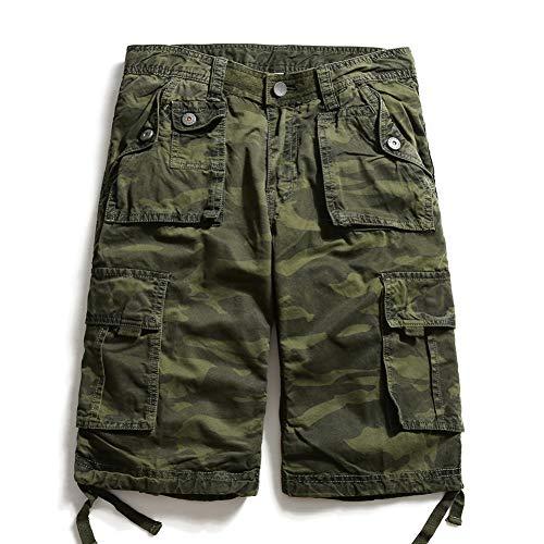 NGRDX&G Herren Bermuda Shorts Herren Cargo Shorts Camo Männlich Casual Cotton Viele Taschen ReithoseCamouflage Knielang Loose Summer Shorts Herren