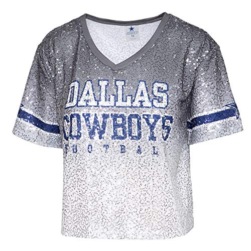 NFL Dallas Cowboys Womens Cadence Sequin Ombre Cropped Jersey, Gray, Medium