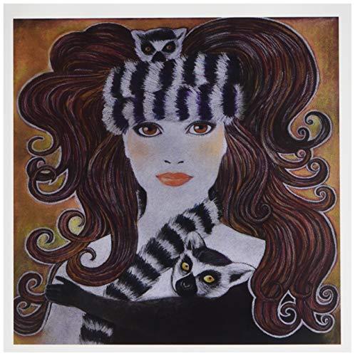 3drose gestileerde kunst Lemuren Wild Animal Madagaskar vrouw hat Scurril Pastel Schilderijen - Wenskaarten, 6 by Foto, 6 stuks (GC 23279 1)
