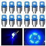 HSIQIAN 12PCS de Luz de Válvula de Flash Luz De Radios Luces De Neumáticos para Coche Bicicleta Motocicleta (Azul, 12PCS)