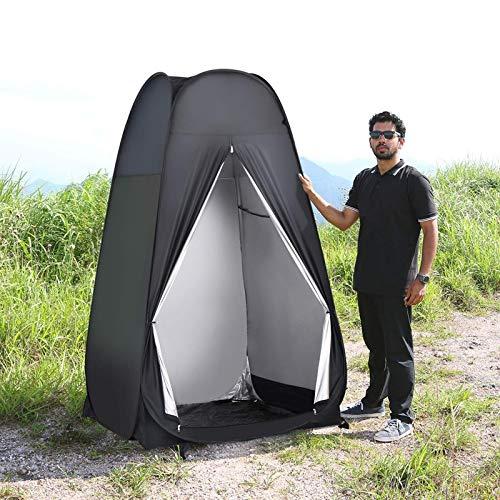 weichuang Außenzelt Fully Tent Automatische Öffnen Außendusche Baden Angeln Schwimmen Toilette Einfacher Wechsel Kleidung Vorhang Camping Stahldraht Zelt (Color : Black)