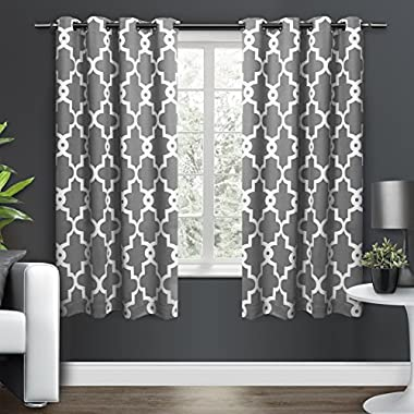 Exclusive Home Ironwork Sateen Woven Blackout Window Curtain Panel Pair with Grommet Top 52x63 Black Pearl 2 Piece