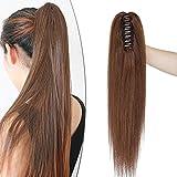 18'(45cm) SEGO Coleta Postiza Lisa Pelo Natural con Pinza [#4 Castaño Chocolate] 100% Remy Extensiones de Cabello Humano Clip Ponytail Hair (115g)