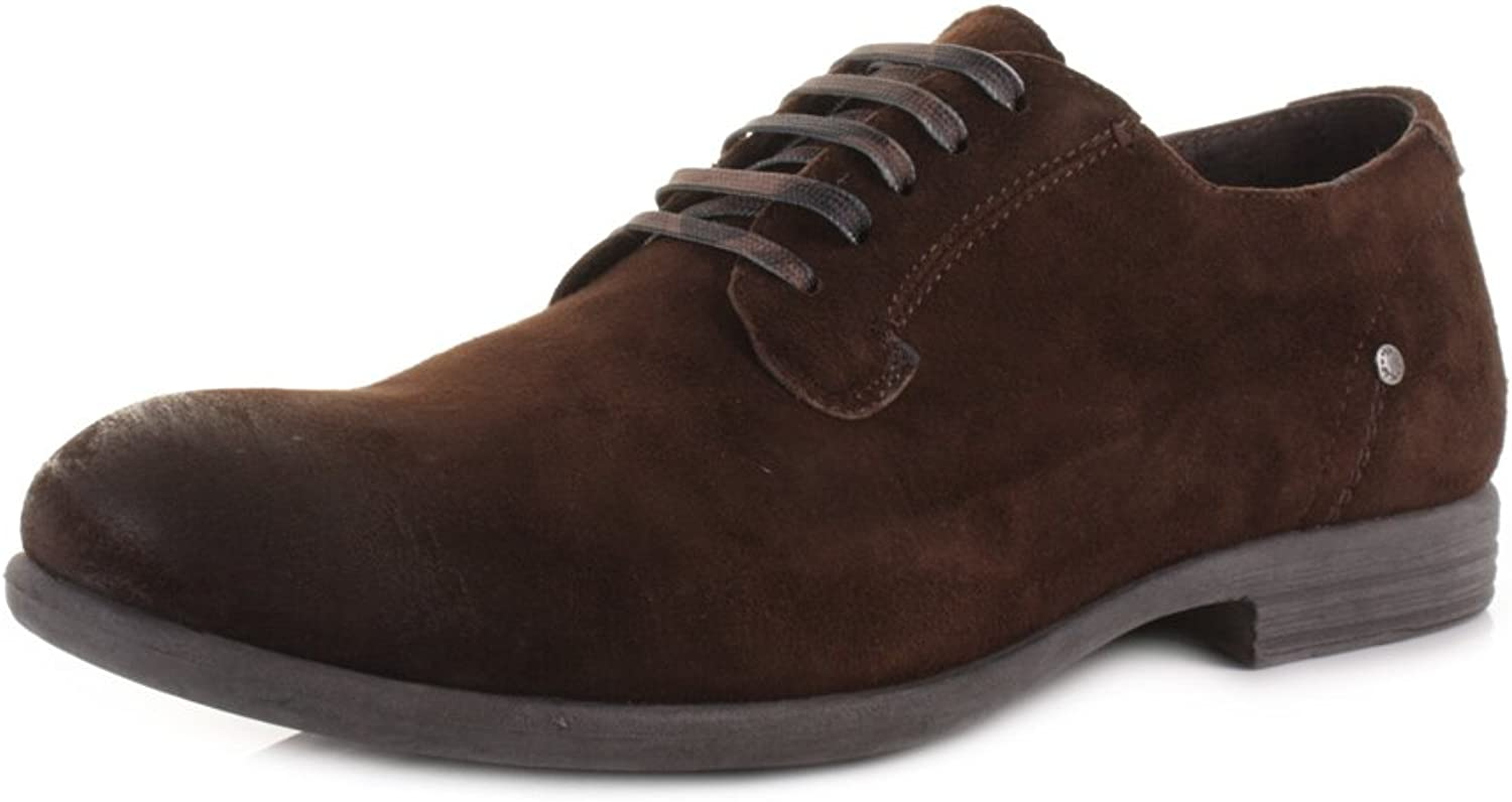Replay Mens Perform Dark Brown Leather Smart Fashion Work Casual shoes