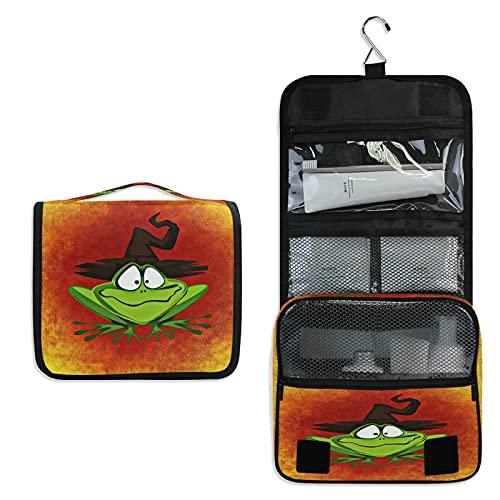 Grenouille Dorée Trousse de Toilette à Suspendre Rangement MaquillageSac Voyage Portable Pliable Salle de Bain Trousse de Cosmétique pour Femmes Filles
