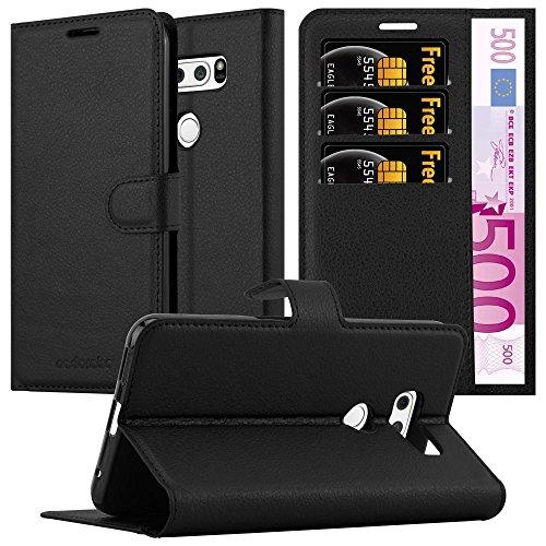 Cadorabo Hülle für LG V30 - Hülle in Phantom SCHWARZ – Handyhülle mit Kartenfach & Standfunktion - Hülle Cover Schutzhülle Etui Tasche Book Klapp Style