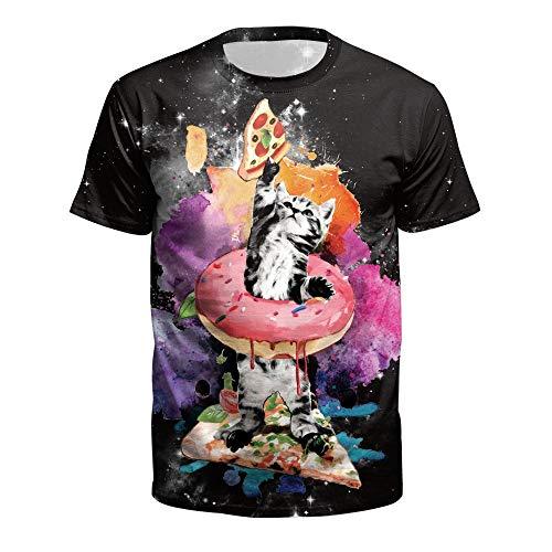 XIAOBAOZITXU T-Shirt Mannen En Vrouwen Liefhebbers Kleding Pizza Kitten Korte Mouwen 3D Digitale Afdrukken Ronde hals Losse Sport Mode Grote Maat T-Shirt