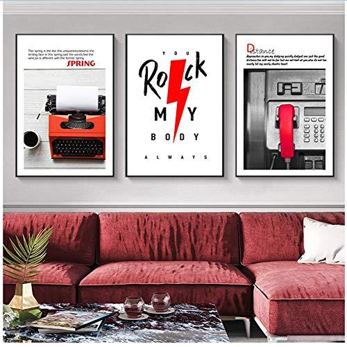 XingChen Leinwand Malerei Red Letter Bild Nordic Home Decor Drucker öffentliches Telefon Wandkunst abstrakt Poster und Drucke für Schlafzimmer 3x40x60cm ohne Rahmen