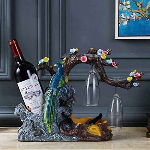 MFLASMF Pfau in einem Baum Rustikale Weinflaschenhalter mit 2 Gläsern, Harz Skulptur Weinregal Regal für Heimtextilien Handwerk