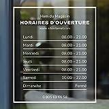 Autocollant sticker horaires vitrine magasin personnalisé (Design 1)