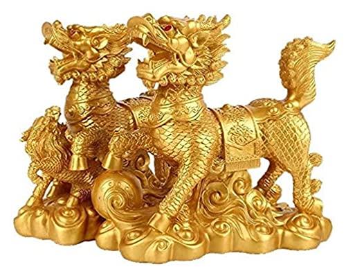 FGUD Un par de Resina Dorada China fengshui chi Lin Kylin estatuas decoración Qi Lin Dragon Horses Statue