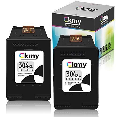 CKMY 304 XL 304XL Schwarz Remanufactured Druckerpatronen Tintenpatrone für HP DeskJet 2630 3720 2600 3735 2622 3730 3760 2620 3732 3733 3762 2632 2633 Envy 5030 5010 5032, 2 Schwarz