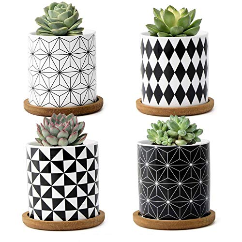 FairyLavie 7CM Ceramic Little Pots for Plants, Geometric Pattern Succulent Plant Pots Planters with Bamboo Tray, Perfect for Home Office Decor for Family Friends Colleague, Set of 4