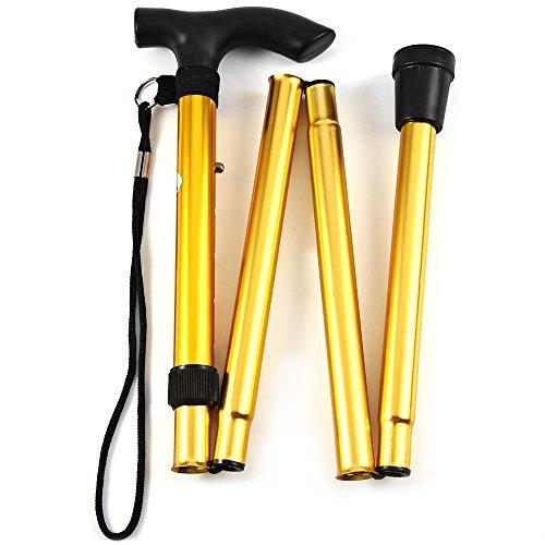 Anytec Foldable Adjustable Height Folding Ergonomic Lightweight Walking Ergonomic Stick Cane Non Slip Rubber Base Unisex (Yellow)