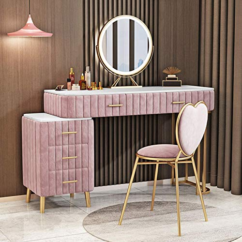 N/Z Living Equipment Makeup Table with Mirror Drawers and Stool Bedroom Furniture Sets Vanity Table with Marble Table Top| Dressing Table|Flannel Wrap Vanity Makeup Table (Pink)