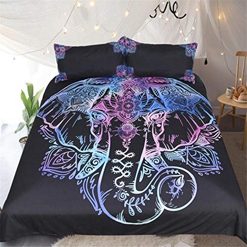 Bedding Duvet Cover 3D Printed Abstract colorful mandala animal elephant Quilt Duvet Cover with Zipper Closure, Soft Microfiber Bedding 1pcs Duvet Cover (86.5x102 inch) and 2pcs Pillow Cover