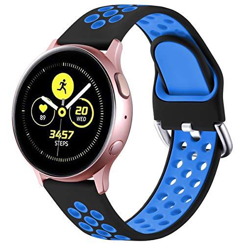 Vobafe Armband Kompatibel mit Samsung Galaxy Watch Active/Active 2 Armband (40mm/44mm), Weiches Silikon Armbänder Sportarmband für Galaxy Watch 3 41mm/Gear S2 Classic/Gear Sport, L Schwarz/Blau