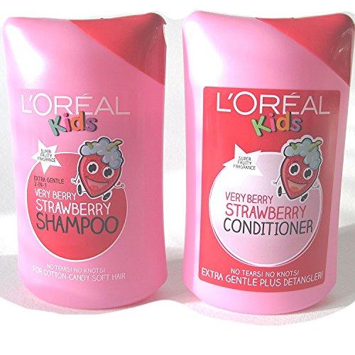 L 'Oreal Super Kids Very-Berry-Erdbeer-Shampoo, 250ml und L 'Oreal Very-Berry-Erdbeer-Conditioner, 250ml, für Kinder