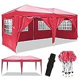 Bunao Pavillon 3mx6m, Tente de pavillon Pliable imperméable à l'eau, Tente de pavillon Pliante avec 4 côtés pour Jardin/fête/Mariage/Pique-Nique/marché (Rouge)