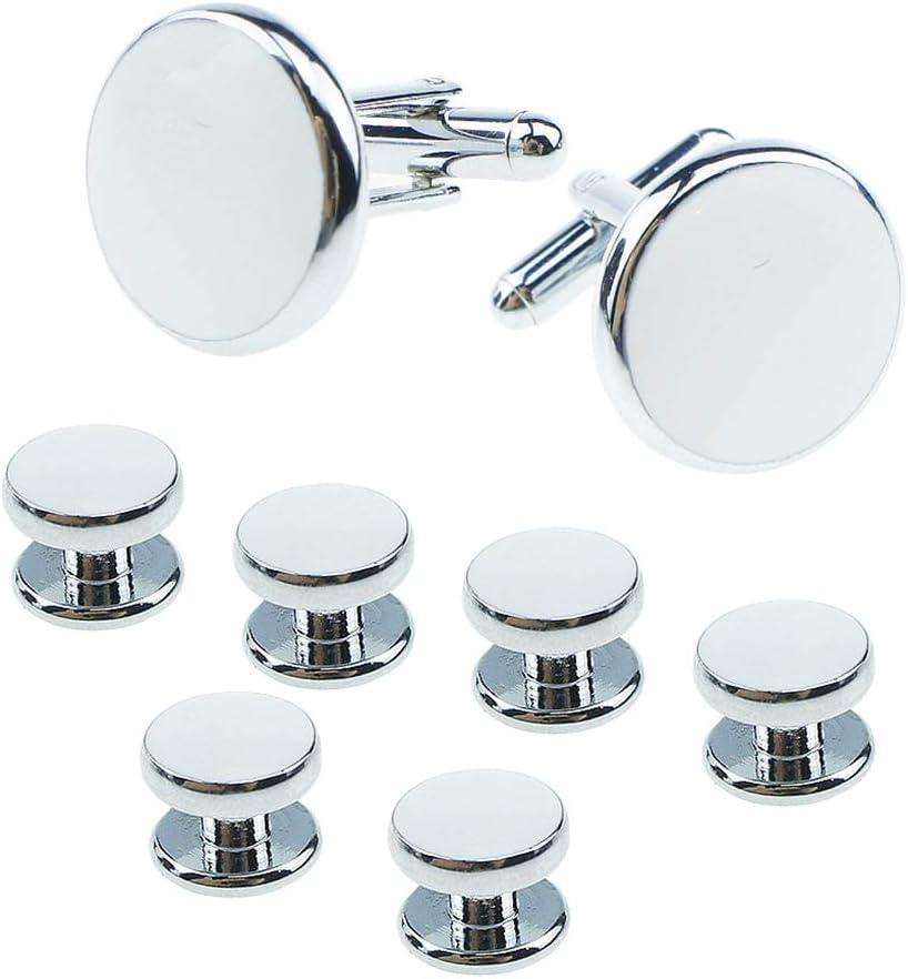 Zozu 8PCS/Set Retro Round Shape Drop Oil Cufflinks Stud Plated Geometric Sleeve Cuff Button Shirt Jewelry Gifts (NO.1)
