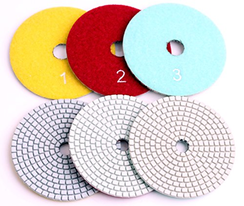 4 Inch with 2.5mm Thickness Dry/Wet 3 Step Polishing Pads for Granite Marble Concrete Stone