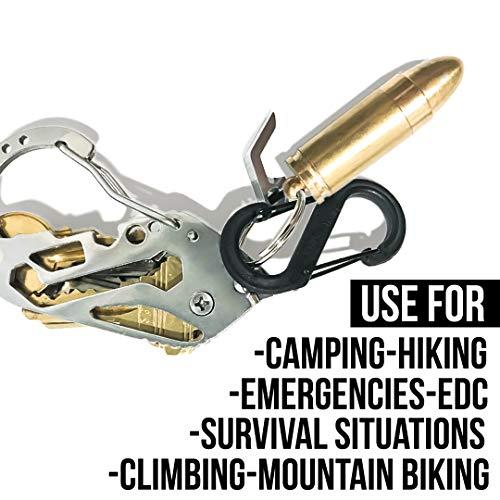 OPG3 1x Gold Bullet Keychain Cigarette Cigar Pocket Lighter, Brass Metal Baby Bullet And Military Survival Gear Fire Starter