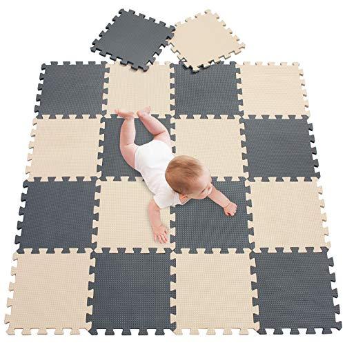 meiqicool Alfombra Puzzle Bebé 18 Piezas - Alfombra Infantil Puzzle para Niños Espuma Infantil Juego Alfombrillas 30x30cm Alfombra Puzle Protección para El Piso Beige Gris 1012
