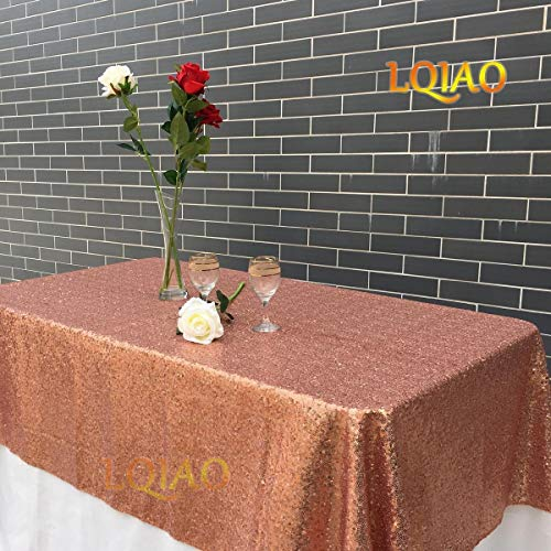 LQIAO 120x200cm Rose Gold-Sequins Table Cloth, Luxurious Rectangle Sequin Tablecloth, Sparkly Wedding/Christmas Decoration, Rose Gold