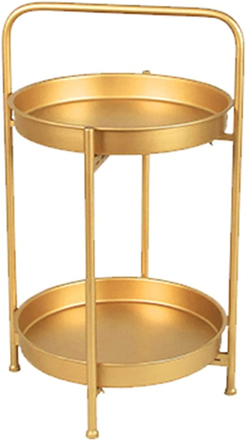 Coffee Table Wrought Iron Double Small Coffee Table Living Room Sofa Side Corner A Few Bedroom Small Round Table Gift (color   gold, Size   40  40  67CM)
