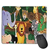 Whecom Tappetino Mouse Gaming Animals in The Jungle Funny Expressions Exotic Comic Cheer N...