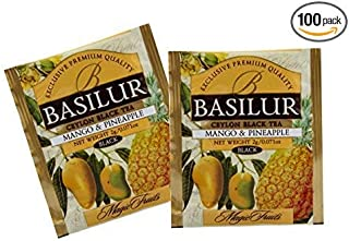 Basilur   Mango & Pineapple Tea   Food Service Packs   Single Origin   100% Pure Natural Black Tea with pieces of Mango & Pineapple   100 Count Enveloped Tea Bags   Pack of 100