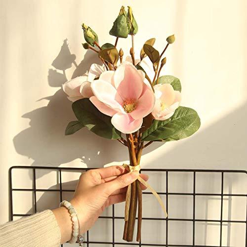 Yazi Dan Falso Artificial Flores Leaf Magnolia Flores Boda Ramo Party Home Decor, Falsa de Flores Artificiales decoración Flores Seda Rosas Plástico Novia Boda Ramo de Flores para casa jardín