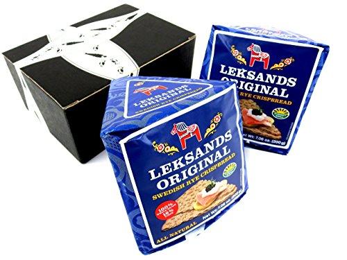 Leksands Original Swedish Rye Crispbread, 7.06 oz Wedges in a BlackTie Box (Pack of 2)