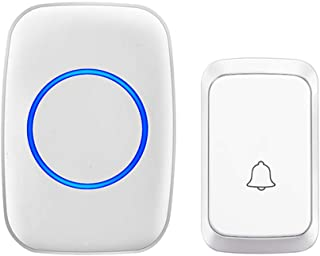 Wireless Doorbell, Waterproof Door Chime Kit Operating at Over 1000 Feet with 1 Plug-In Receivers, 58 Melodies, CD Quality Sound, LED Flash (1x Chime 1x Button, White)