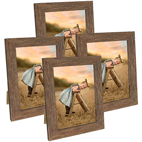 Hap Tim 5x7 Picture Frame Distressed Rustic Brown Wooden Photo Frames for Tabletop Display and Wall Decoration, Set of 4 (CWH007-5x7-BR)